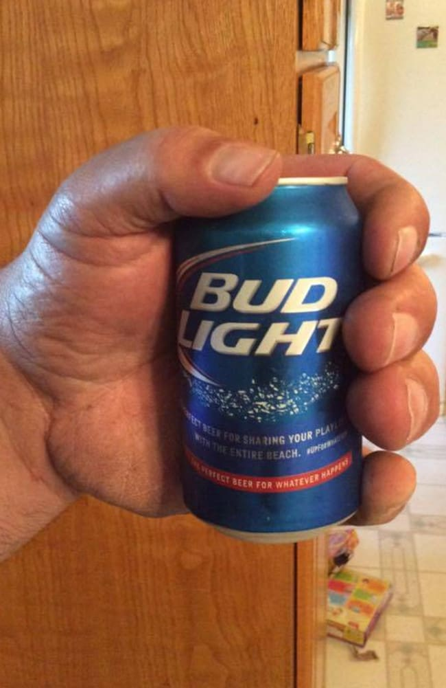This is Jeff holding a standard beer can. Whoa. Picture: Jeff Dabe/Facebook