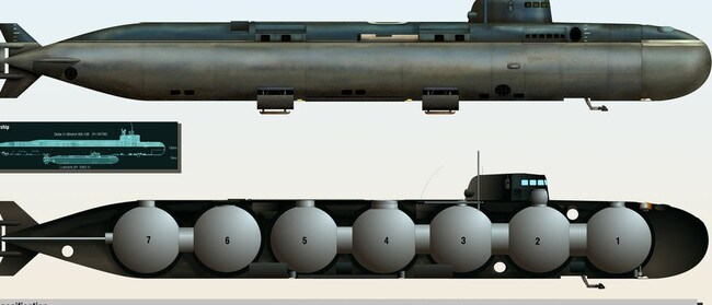 The seven spherical chambers inside the Russian AS-12 nuclear-powered mini sub help create conditions enabling descents to up to 6000m. Picture: Covert Shores