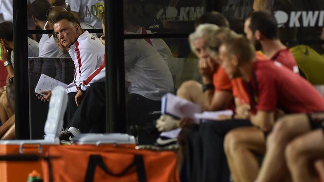 Manchester United's coach Louis van Gaal watches his team play Inter Milan.