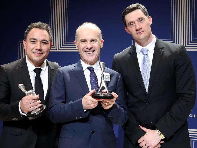 Sam Pang, Tom Gleisner and Ed Kavalee pose with the Logie Award. Picture: Getty