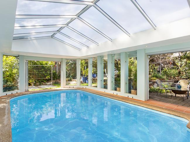 The home has an indoor swimming pool
