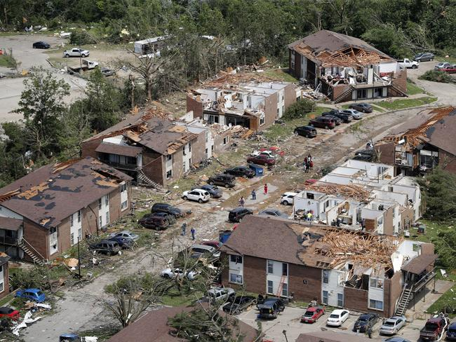 In this aerial photograph, tornado damage is seen, in Jefferson City. Picture: AP