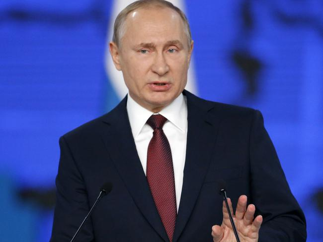 Russian President Vladimir Putin delivers a state-of-the-nation address in Moscow, addressing issues such as the arms race with the US. Picture: AP Photo/Alexander Zemlianichenko