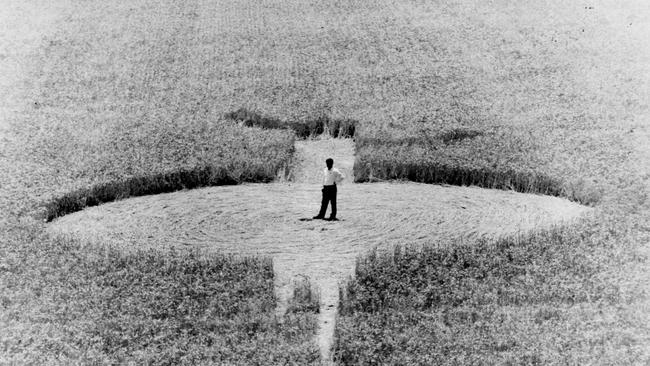 A crop circle, which some groups attribute to the presence of UFOs.