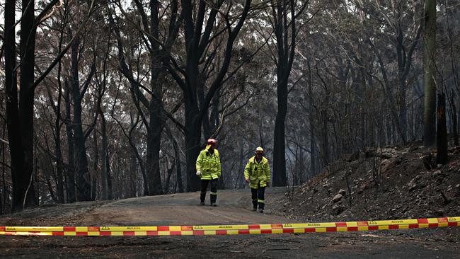 Two rural firefighters walk along Skyline Rd at Mount Tomah on Monday. Picture: Adam Yip