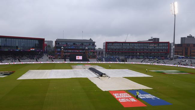Umpires made the call to delay the game as rain continued to fall in Manchester. Picture: Getty