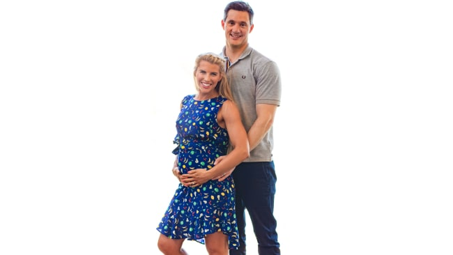 Tiffiny Hall and Ed Kavalee are now proud parents to son Arnold. Photo: Steve Koukoulas Photography