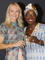 Patrice Pheely, of Clayfield, and Peggy Ekeledo-Smith, of Hamilton, at the Y Women lunch for Youngcare. Picture: Just Photography