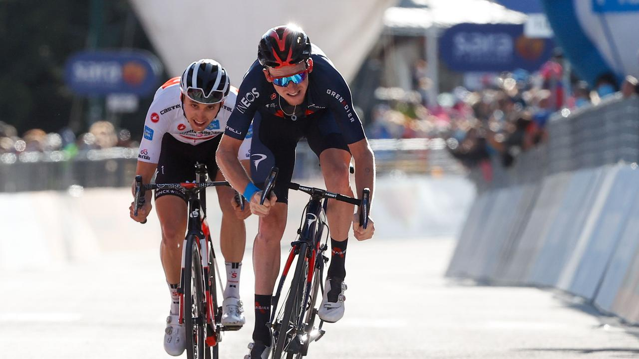 Great Britain's Tao Geoghegan Hart pipped the Aussie to the stage 20 win.
