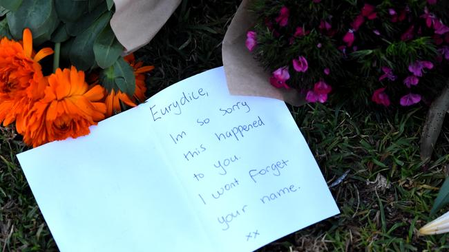 One of many cards in a memorial for murdered comedian Eurydice Dixon. Picture: Nicole Garmston.