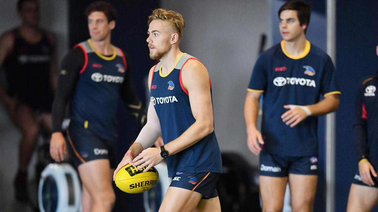 Adelaide player Hugh Greenwood at the club's indoor training centre at Football Park in West Lakes.
