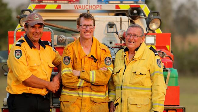 RFS volunteer firefighters Senior Deputy Captain Stuart Jose, firefighter Ryan Channells and Deputy Captain Jamie Murphy. Picture: Nathan Edwards