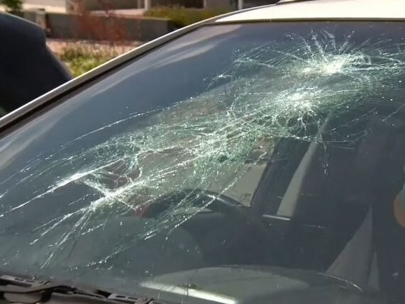 Damage done to a car in the Ellenbrook neighbourhood. Picture: 9News