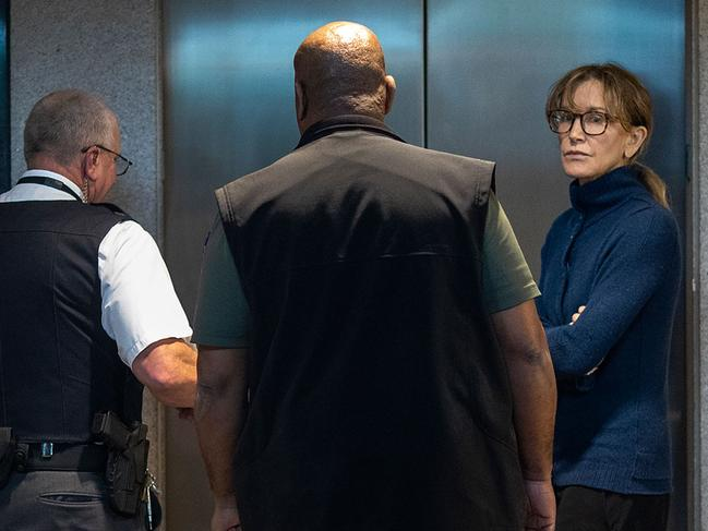 Actress Felicity Huffman is seen inside the Edward R. Roybal Federal Building and U.S. Courthouse in Los Angeles, on March 12, 2019. Picture: David McNew/AFP