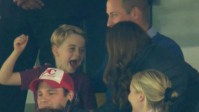 Video grab from BBC News of Prince George cheering on Aston Villa at Carrow Road in Norwich. Picture: BBC News/PA Wire