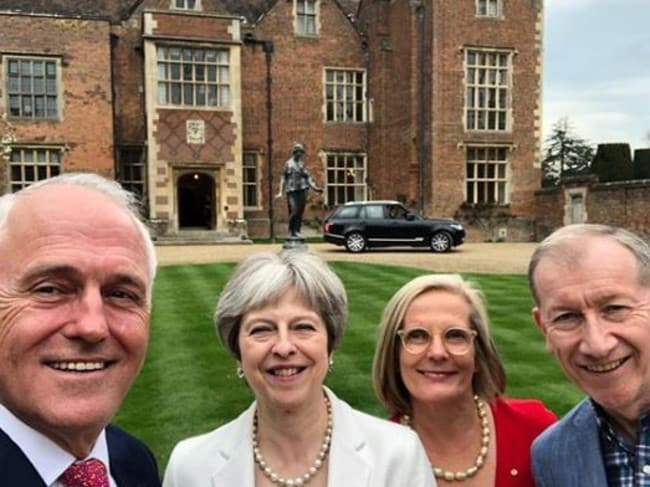 Theresa and Philip May hosted Malcolm and Lucy Turnbull at Chequers last month. Picture: Instagram