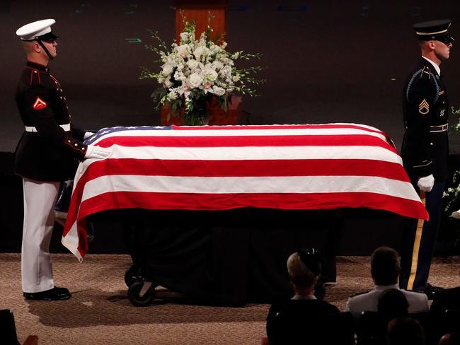 John McCain's casket. Picture: AFP