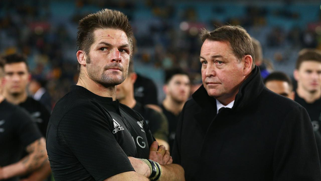 Former All Blacks captain Richie McCaw and coach Steve Hansen look dejected after losing the Rugby Championship match against the Wallabies on August 8, 2015.