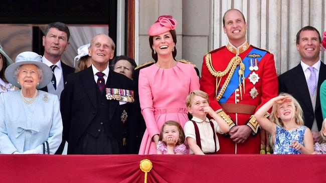 Queen Elizabeth II and other royals on the balcony at Buckingham Palace. Picture: James Devaney