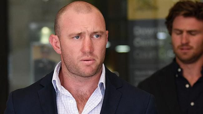 Former Australian rugby sevens captain James Stannard leaves the Downing Centre Local Court. Picture: Joel Carrett/AAP