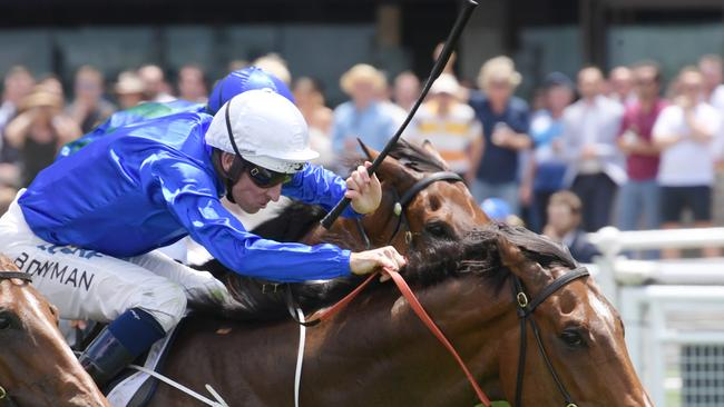 Jockey Hugh Bowman rides Deprive to victory in race 2. Pic: AAP