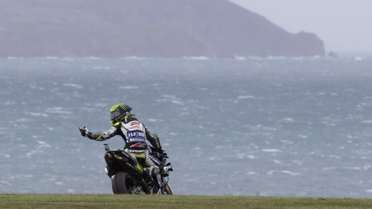 Cal Crutchlow remonstrates during Saturday's action. Picture: Mirco Lazzari
