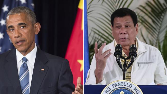 Mr Duterte once launched a foul-mouthed tirade against Barack Obama. Picture: AFP