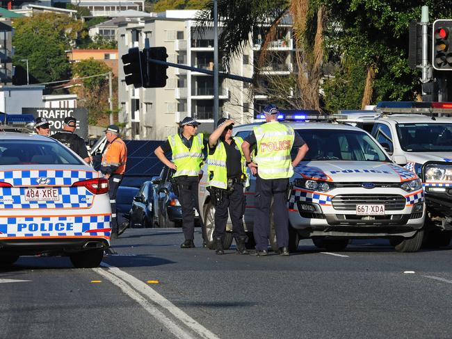 Police and emergency services on the scene. Picture: John Gass/AAP