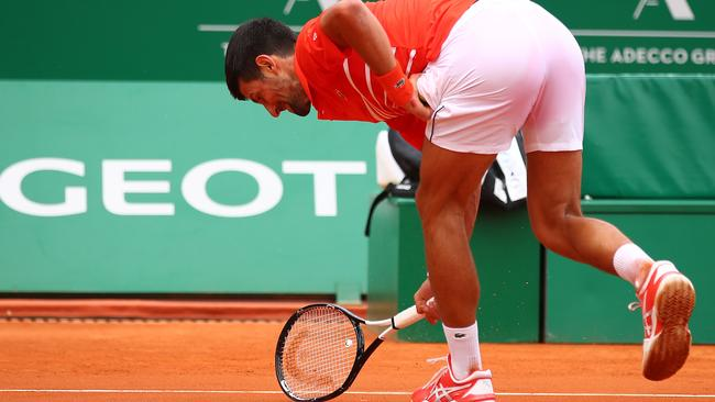 Djokovic unleashes after losing a game. Picture: Getty