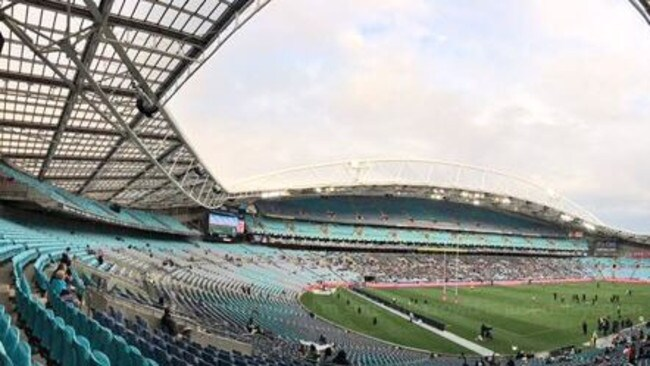 Minutes before kick-off at tiny crowd was inside ANZ Stadium for the Panthers v Warriors final