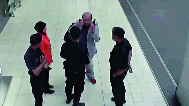 Kim Jong-nam explains to airport staff and police what happened as his condition worsens Picture: Supplied