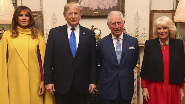 The Prince of Wales and the Duchess of Cornwall with US President Donald Trump and wife Melania at Clarence House, where they had tea. Picture: Victoria Jones/AP