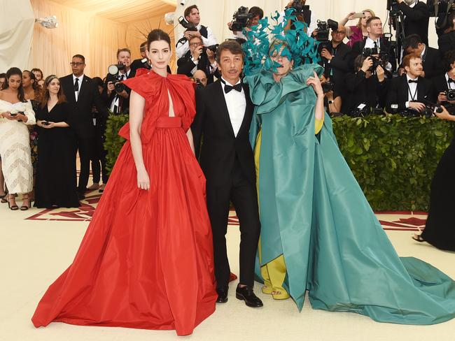 Anne Hathaway, Pierpaolo Piccioli and Frances McDormand attend the 2018 Met Gala. Picture: Getty