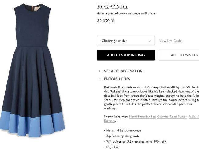 The Roksanda dress is available on net-a-porter.