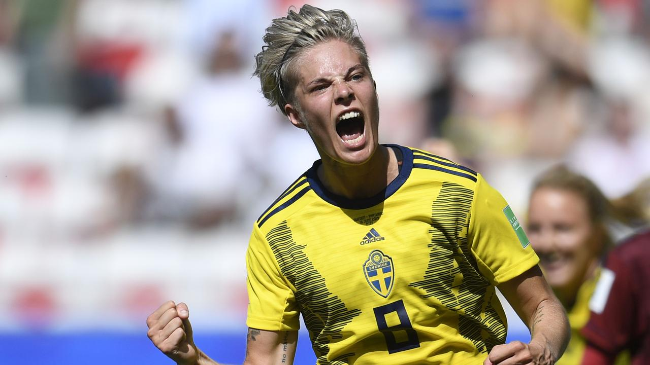 Sweden's Lina Hurtig celebrates after scoring against Thailand