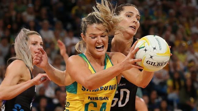 Gretel Tippett in action for Australia against New Zealand in their Constellation Cup clash in Perth in October. Picture: Getty Images