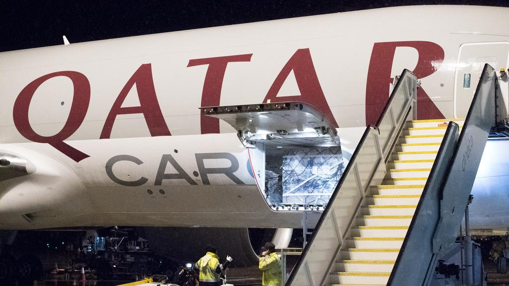 Qatar airlines started airfreight service to and from Melbourne in April in a Boeing 777 Freighter. Picture: Melbourne Airport