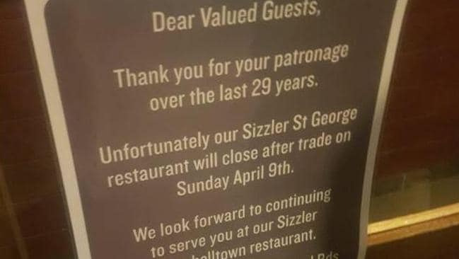 A sign at the Sizzler Kogarah, about its impending closure.