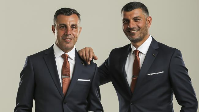 Brisbane Roar assistant coach Ross Aloisi and his brother John. Picture: Mark Cranitch.