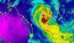 A Bureau of Meteorology radar image shows Cyclone Oma on a path for southeast Queensland, updated on Wednesday night.