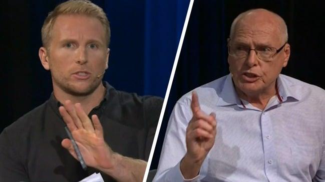 Crowd heckles Jim Molan during 'trainwreck' climate debate (Q&A)