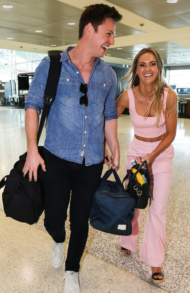 Chelsie and Matt were spotted boarding a flight at Sydney Airport the day after she was announced as the winner. Picture: Matrix