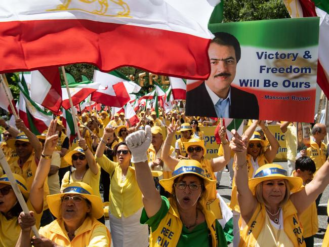 """The Organisation of Iranian American Communities rally to urge a """"regime change"""" outside the State Department in Washington, DC, on June 21, 2019. Picture: AFP"""