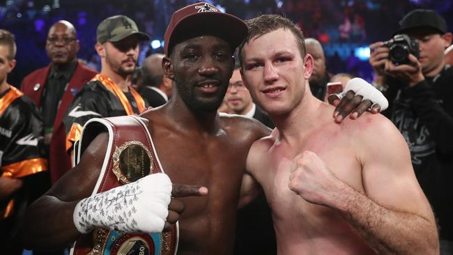 Terence Crawford was gracious in victory after his fight against Jeff Horn. Picture: Peter Wallis