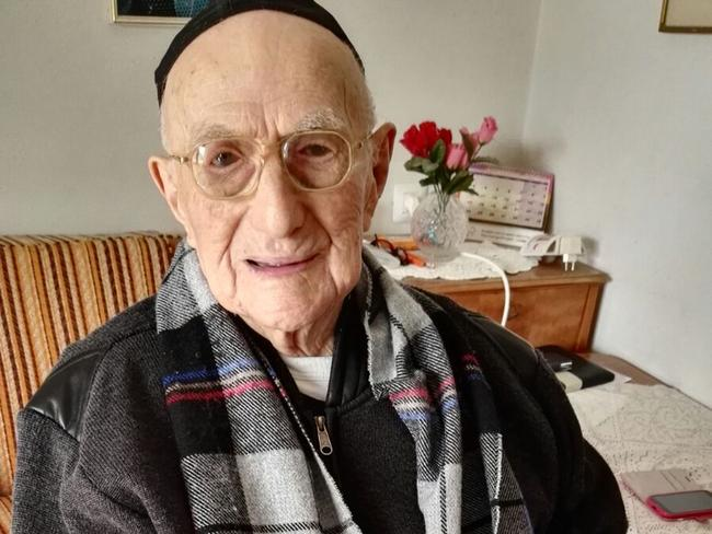 Yisrael Kristal sitting in his home in the Israeli city of Haifa. Picture: AFP