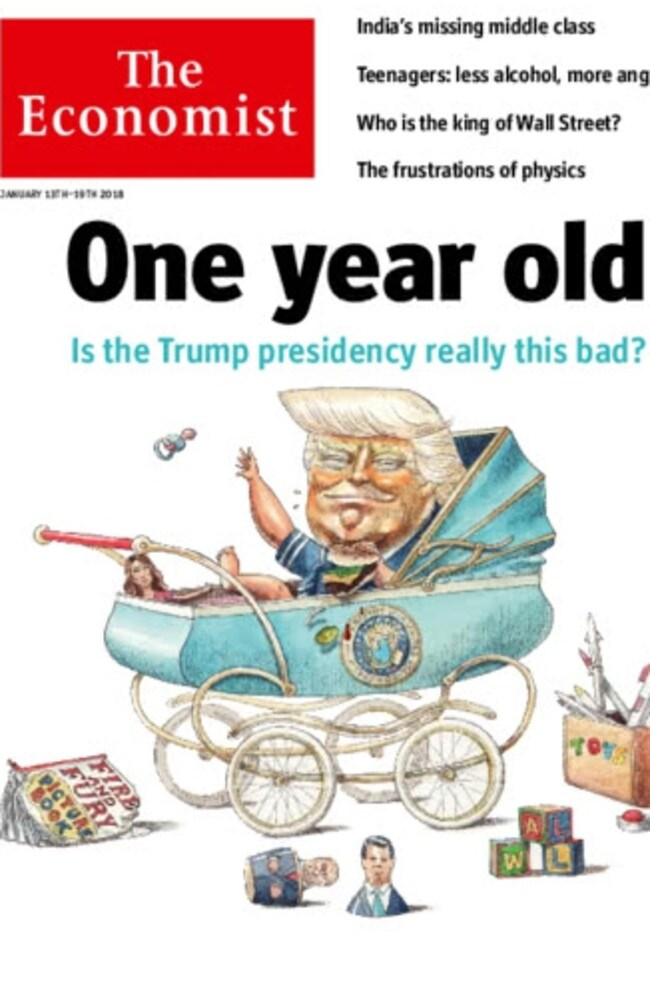 The Economist pictures Donald Trump as a one year old baby in its year-end reflective. Picture: The Economist