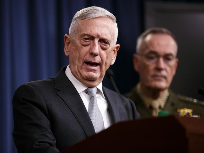Defence Secretary Jim Mattis, joined by Joint Chiefs Chairman Gen. Joseph Dunford, speaks at the Pentagon. Picture: AP