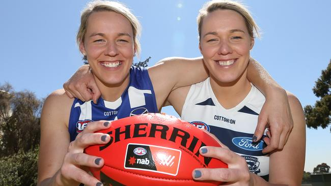 Sarah and Gemma Wright will play on different teams next season. Picture: Michael Klein