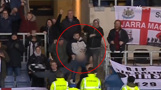 Football fan's obscene 'helicopter' celebration caught on BBC One