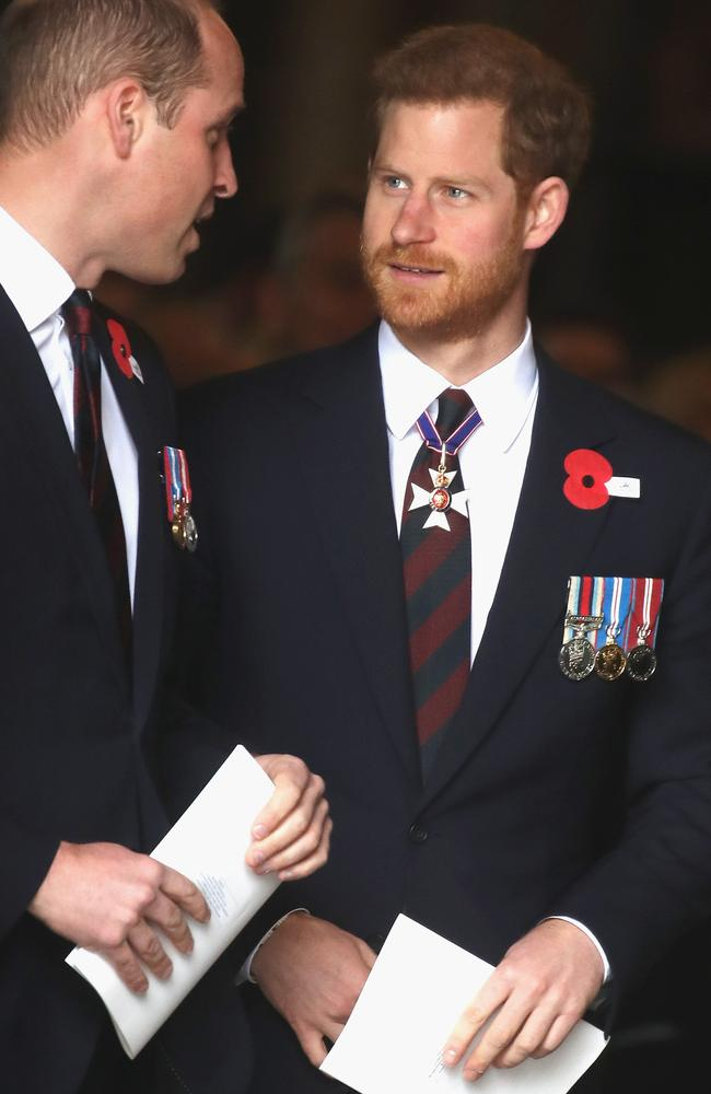 Prince William and new uncle Prince Harry attended a Westminster Anzac service. Picture: Chris Jackson/Getty Images